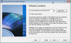TrueCrypt Volume location 2